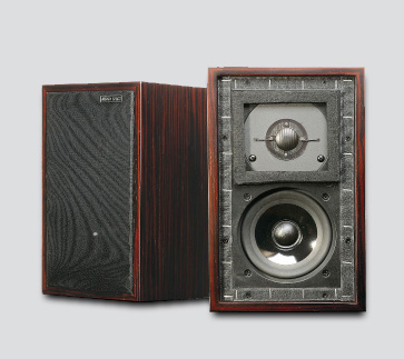 Audio Space LS-3/5A Monitor Speaker in wood finish, detailed front and back view
